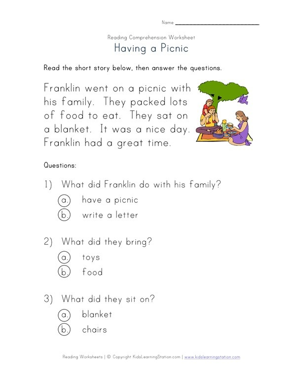Beginner Reading Comprehension Worksheet