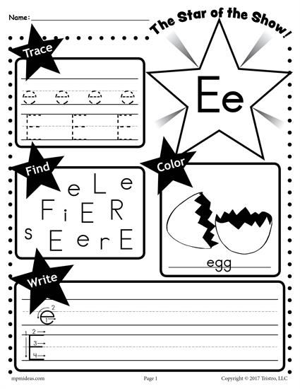 Free Letter E Worksheet  Tracing, Coloring, Writing & More