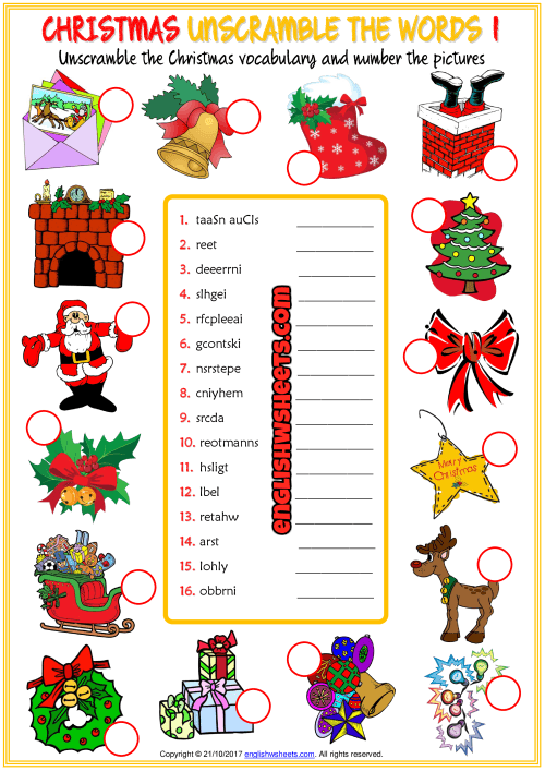 Christmas Unscramble The Words Esl Worksheets For Kids