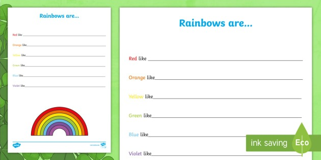 Colors Of The Rainbow Writing Worksheet   Worksheet