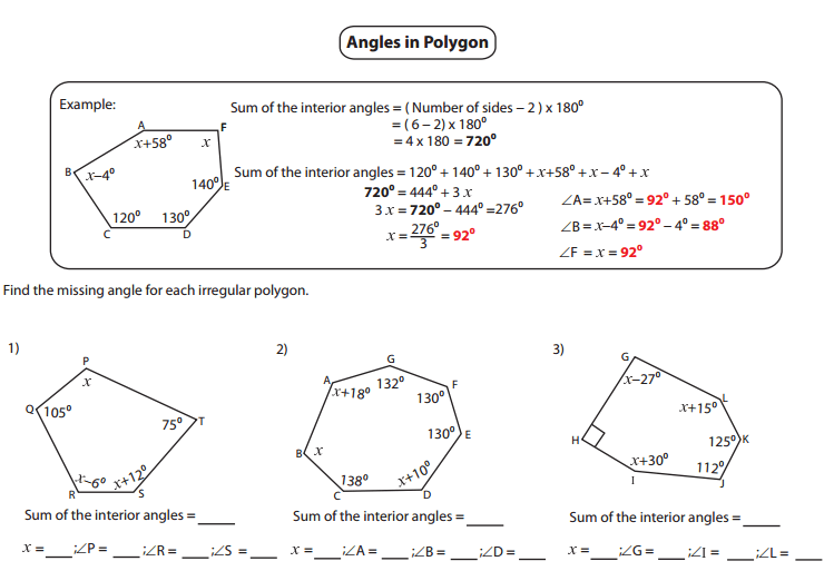 Chic Missing Angles Worksheet Ks3 Tes For Interior Angles Of A