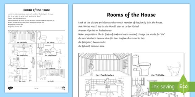 Rooms Of The House Worksheet   Worksheet German