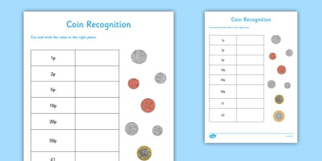 Coin Recognition Worksheet   Worksheet