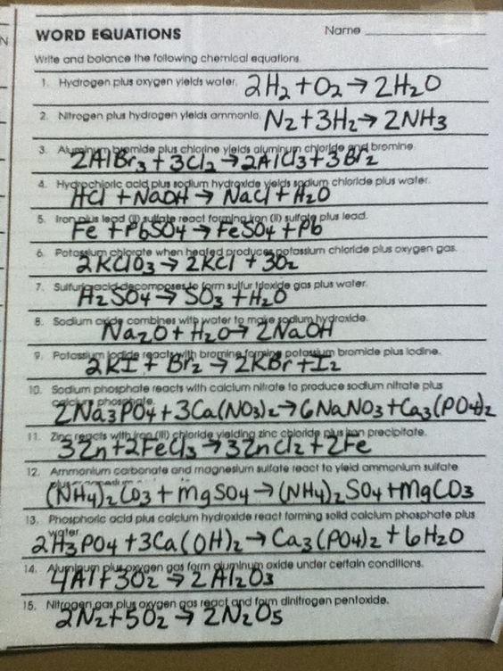Chemfiesta Worksheet Answers Word Equations Worksheet Answer Key