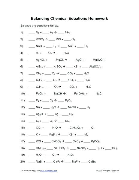 Chemical Reactions Review Sheet Answers Balancing Equations Packet