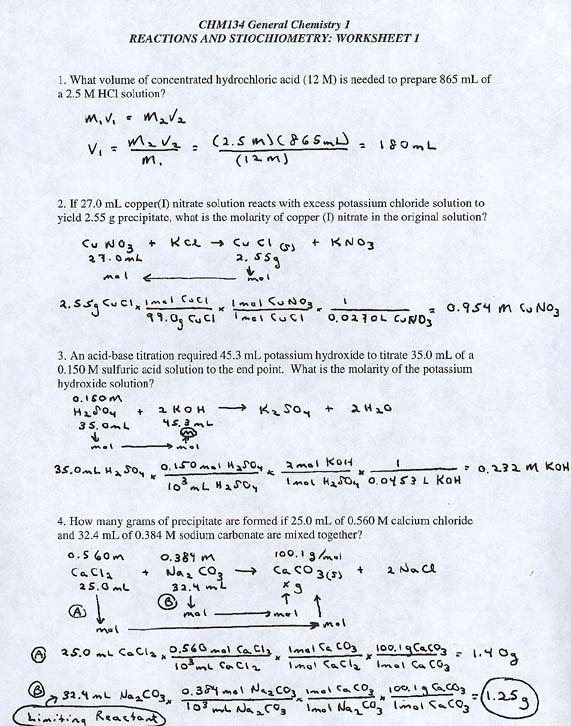 Stoichiometry Worksheet 1 Answers
