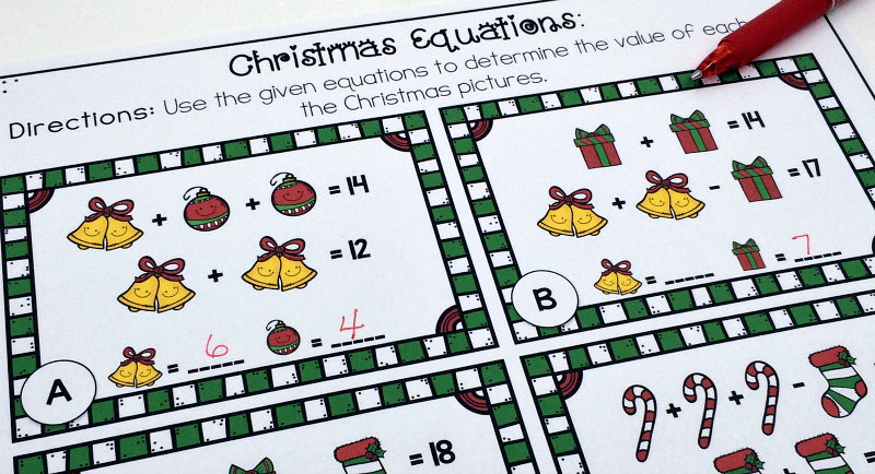 Christmas Equations Worksheet  Unique Math Challenge {free}