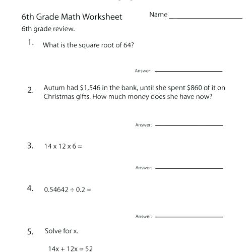 Christmas Worksheets For 6th Grade Math Worksheets Free Printable