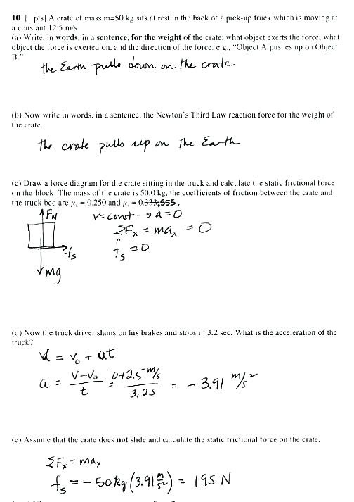 Coefficient Of Friction Worksheet