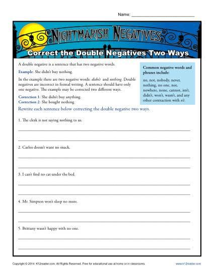 Nightmarish Negatives  Correct The Double Negatives Two Ways