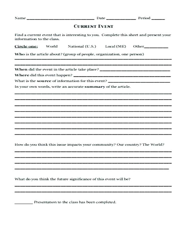 Current Events For Students Worksheets Fourth Current Events