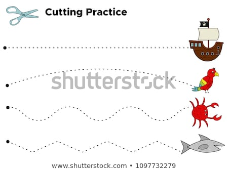 Cutting Practice Worksheet Preschool Kids Educational Stock Vector