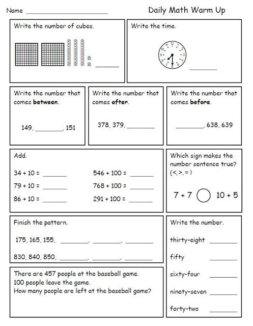 Math Morning Work For Second Grade
