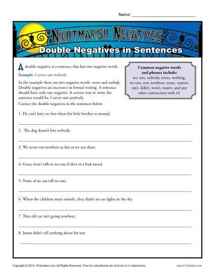 Nightmarish Negatives  Double Negatives In Sentences