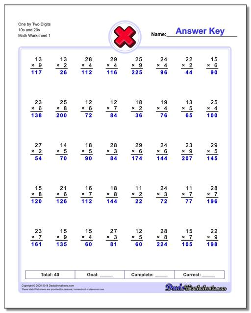 844 Free Multiplication Worksheets For Third, Fourth And Fifth Grade
