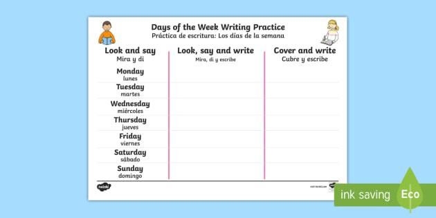 Days Of The Week English Spanish Writing Worksheet