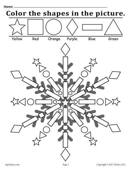 Free Snowflake Shapes Worksheet & Coloring Page