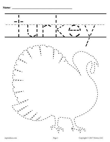 8 Free Printable Thanksgiving Tracing Worksheets & Handwriting