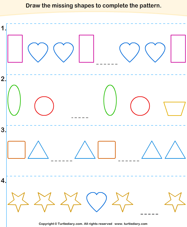 Fill In The Missing Shapes To Complete The Pattern Worksheet