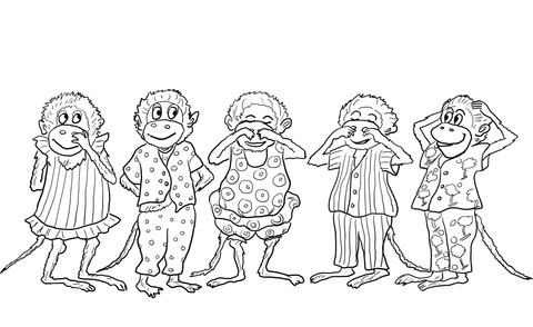 Five Little Monkeys Jumping On The Bed Coloring Page