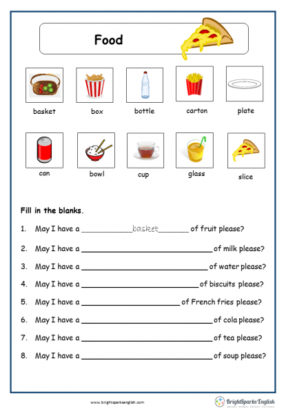 Food English Worksheet – English Treasure Trove
