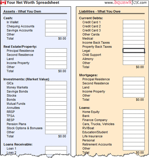 Free Budget Worksheets  Household Net Worth Spreadsheet