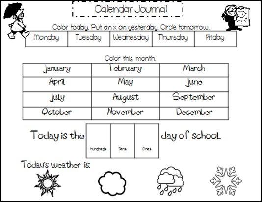 Free Printable Calendar Worksheets Kindergarten Calendar