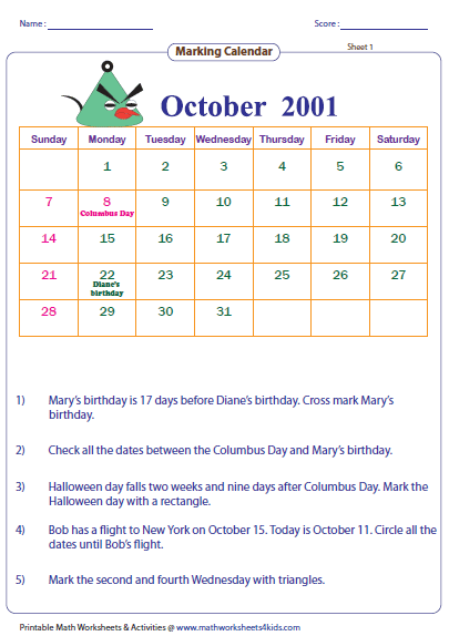 Free Printable Calendar Worksheets Reading Calendar Worksheets