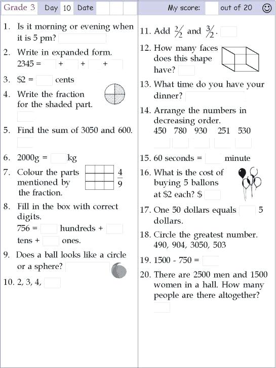 Grade 3 Math And English Worksheets Worksheets For 3 Year Old C