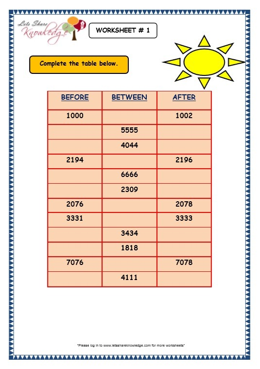 Grade 3 Maths Worksheets  4 Digit Numbers (1 9 Before (predecessor
