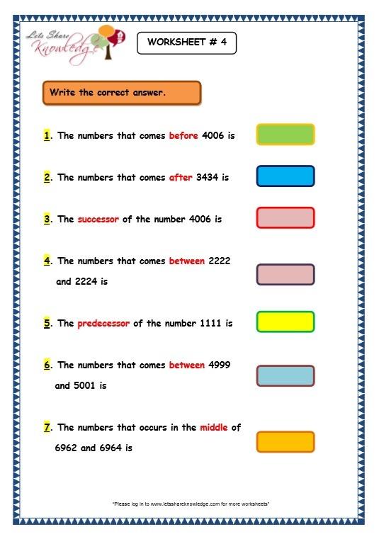 Grade 3 Maths Worksheets  4 Digit Numbers (1 9 Before (predecessor