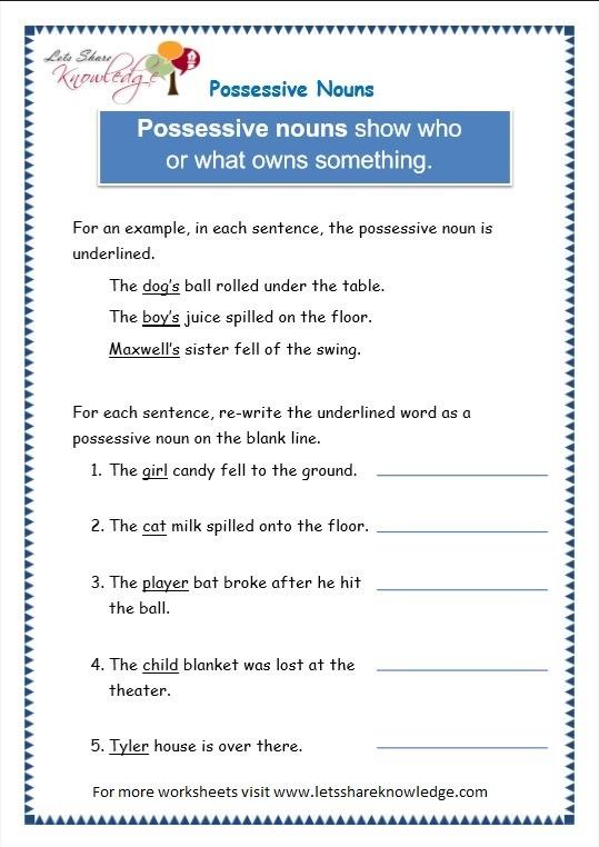 Grade 3 Grammar Topic 8  Possessive Nouns Worksheets