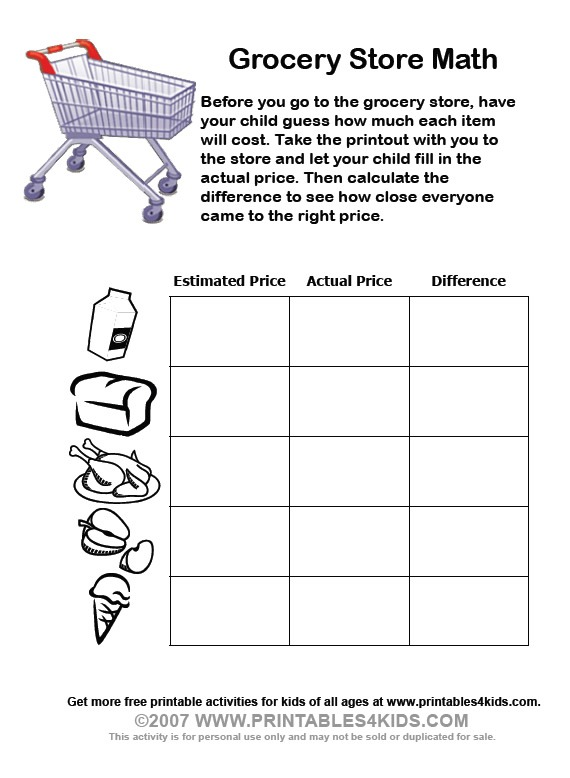 Grocery Store Math Worksheets   Printables For Kids – Free Word