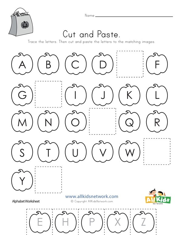 Halloween Cut And Paste Missing Letters Worksheet