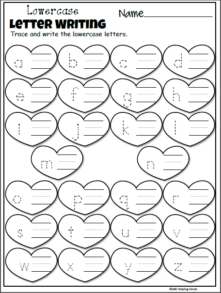 Free February Kindergarten Letter Worksheets For Valentine's Day