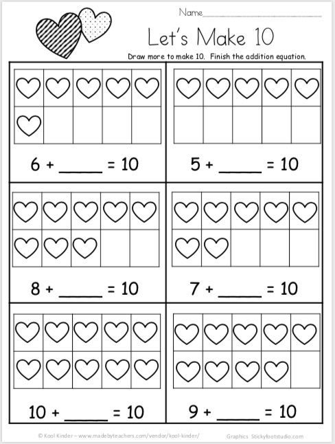Free Valentine's Day Math Worksheets For Kindergarten Addition