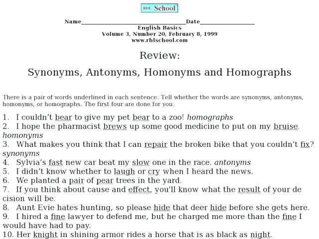Homograph Worksheets 4th Grade – Gulvafslibning Info