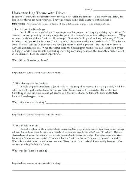 Identifying Theme Worksheets