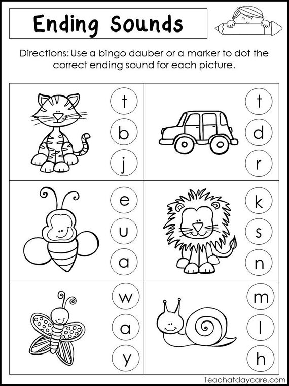 10 Printable Ending Sounds Worksheets  Preschool
