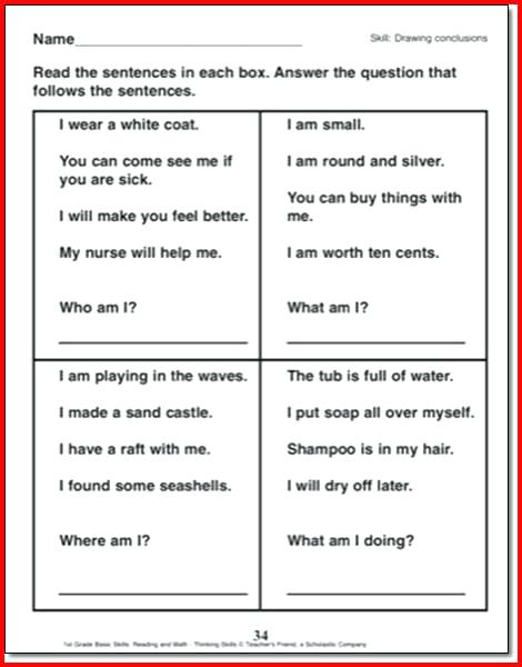 Drawing Conclusions Worksheets 5th Grade