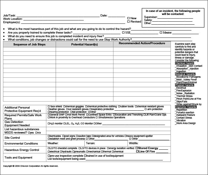 Free Job Safety Analysis Template