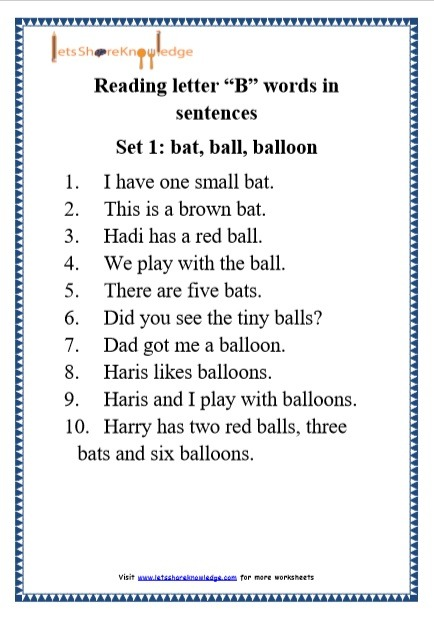 Kindergarten Reading Practice For Letter  B  Words In Sentences