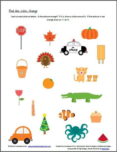Color Recognition  Find The Colors Worksheets   Preschool Items