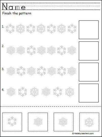 Snowflake Cut And Paste Pattern Worksheet Freebie   Preschool