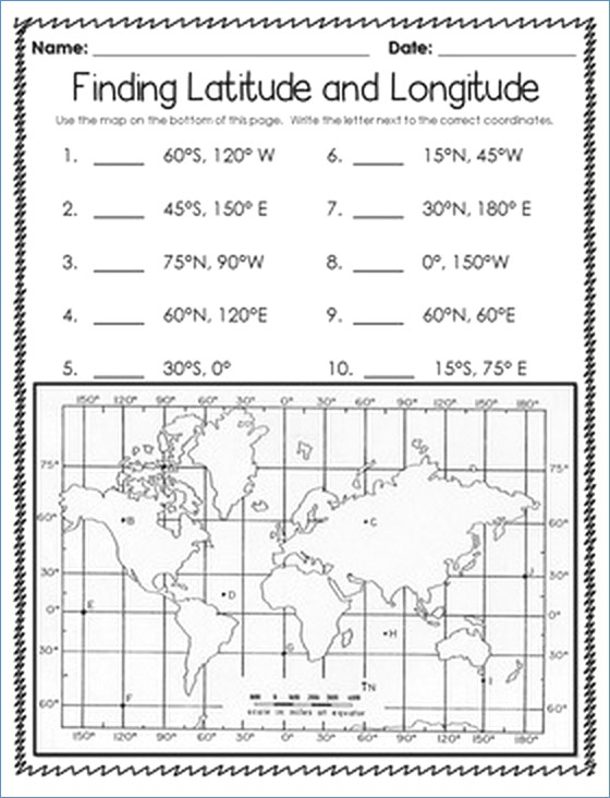 Latitude And Longitude Printable Worksheets – Worksheet Template