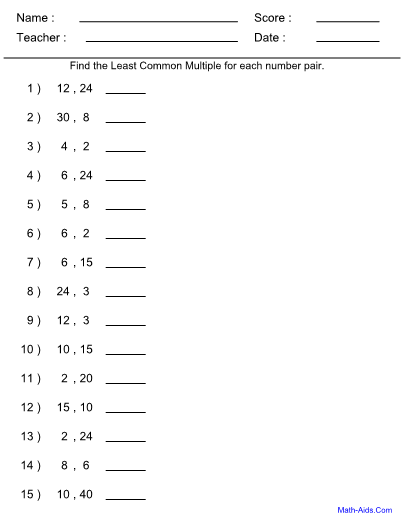 Least Common Multiple Worksheet Least Common Multiple Worksheet