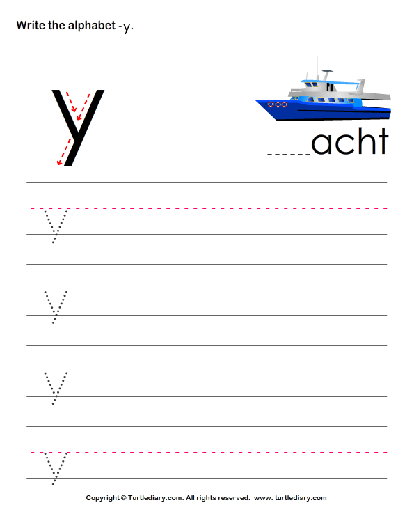 Lowercase Alphabet Writing Practice Y Worksheet