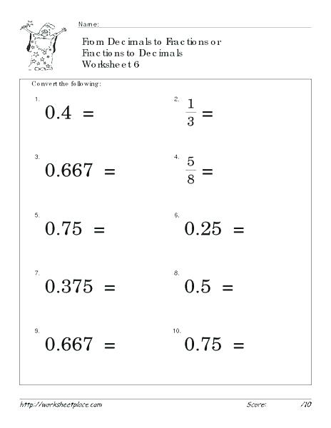 Math Worksheets Decimals To Fractions Math Worksheets Ordering