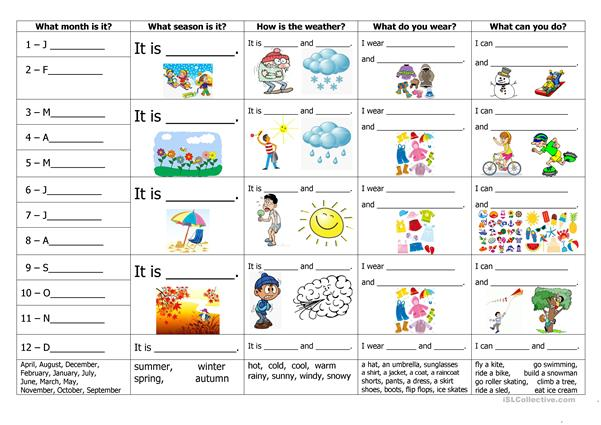 Months, Seasons, Weather, Clothes And Activities Worksheet