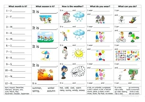 Months Seasons Weather Clothes And Activities Worksheet Free